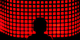 abstract red square shapes and silhouette of a lego minifigure