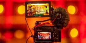 closeup of a video camera capturing video