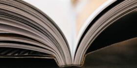 closeup of a magazine's spine