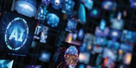 futuristic image with multiple screens depicting AI