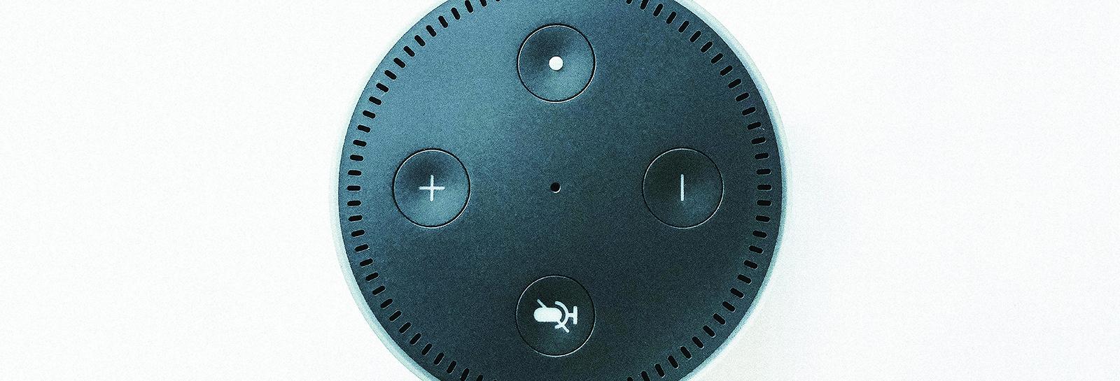 top view of an alexa speaker