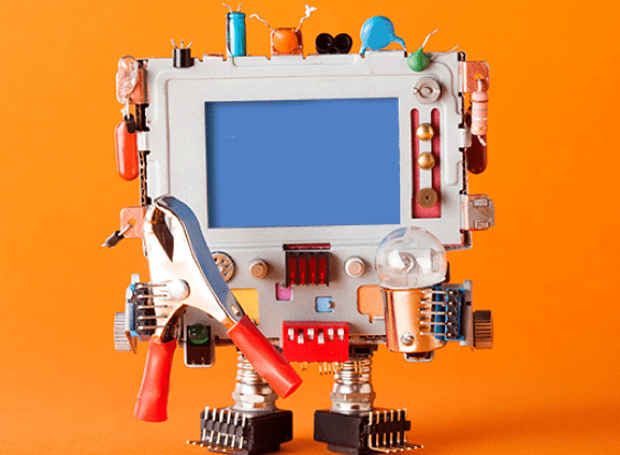 a quirky robot with a blue screen