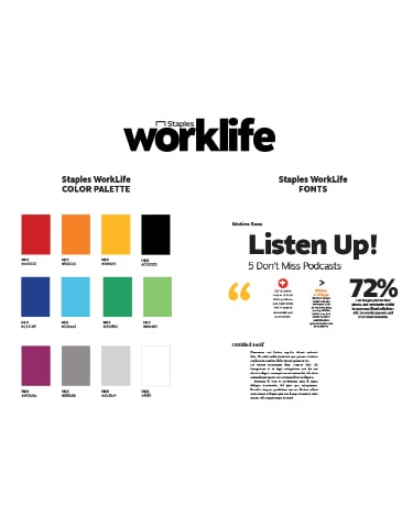 showcase of staples worklife color palette and text styles