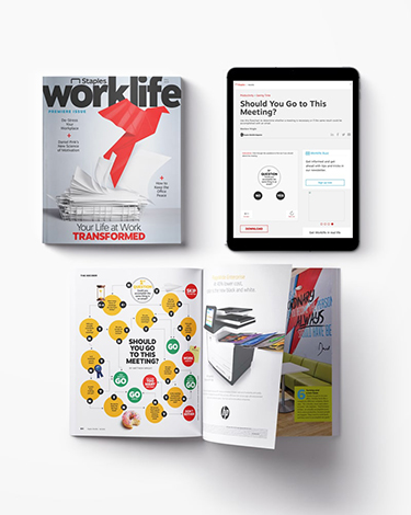 side by side comparison of a magazine spread and a tablet screen
