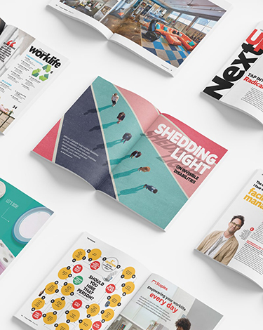 a collection of magazine spreads arranged in a diagonal pattern