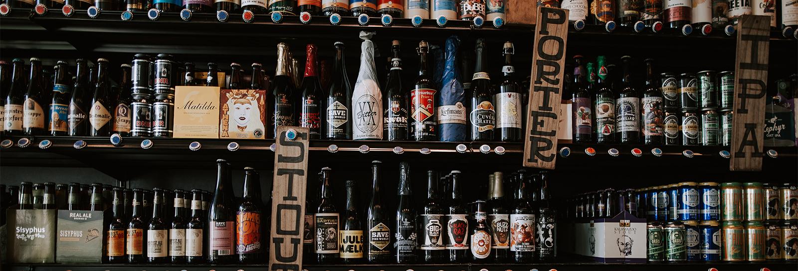craft beer behind a bar